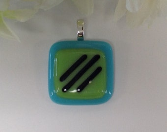 Fused Glass Pendant Teal Blue and Chartreuse