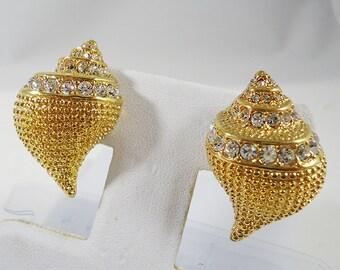 Kenneth Jay Lane KJL Sea Shell Rhinestone Earrings Vintage Costume