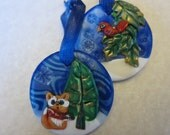 Christmas Ornaments Fox and Cardinal Blue and White Woodland Holiday Gift Tag Set