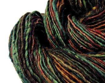 "Handspun Wool Yarn, Hand Dyed Yarn, ""The Deep"" Single Ply BFL Yarn"