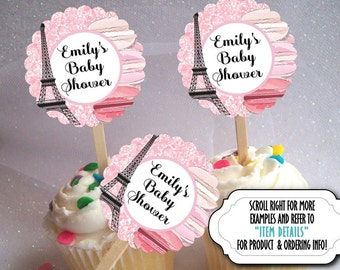 12 Cupcake Picks, Cupcake Toppers Decoration, French, Paris, Eiffel Tower, Macarons, Wedding, Bridal or Baby Shower, Birthday, Pink Colors
