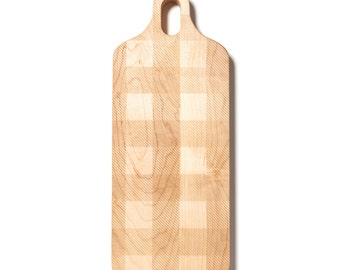 Large Maple Hardwood Paddle Shaped Cutting Board with Plaid Pattern - Wedding Gift - Engagement Gift - Kitchen Decor