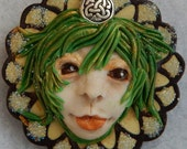 Celtic Fairy Face Brooch or Scarf Pin Jewelry Handmade NEW Accessories Fashion Polymer Clay