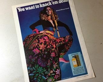 1969 Listerine ad Mademoiselle magazine august college issue Sant Angelo designer wild neon flower print fashion sixties princess gardner