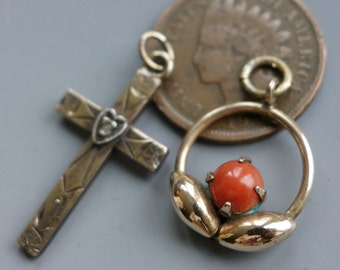 Edwardian Coral Gold Fill Pendant Cross Lot WRE