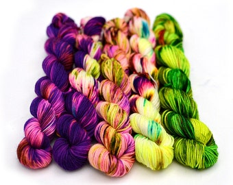 Hand dyed mini skeins sock yarn