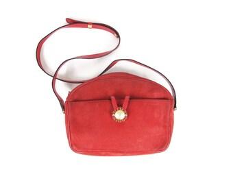 30% OFF SALE Vintage Nina Ricci Purse Red Leather Purse Cross Body Purse 1980s Designer Purse Gold Logo Monogram Bag Nubuck Suede Purse E824