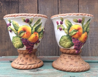 Vintage terra cotta ceramic candle holder set for pillar candles Majolica fruit design Spanish decor
