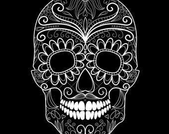 Day of the Dead Black and White Skull and Grungy Skull-Digital Immediate Download