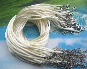 on sale 100pcs 16-18 inch adjustable 2mm cream/Ivory satin necklace cords with lobster clasps
