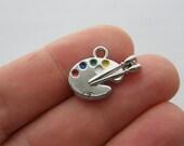 2 Paint palette charms silver tone P403
