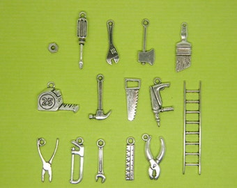 The Ultimate Tool collection - 15 different antique silver tone charms