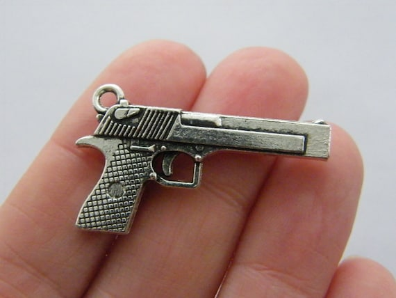 BULK 10 Gun charms antique silver tone G76