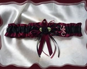 Garnet and Black Satin Fabric Wedding Garter Toss Made with Gamecocks Fabric