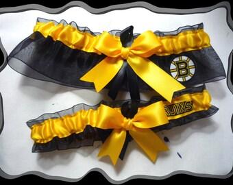 Black Organza Ribbon Wedding Garter Set Made w Boston Bruins Fabric
