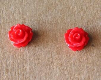 Handmade Rosebud Flower Stud Earrings 10mm Red