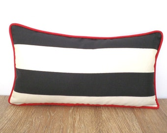 Black and ivory outdoor pillow case 20x11, color block lumbar pillow cover, black stripe chair cushion outside fabric, cabana stripe cushion