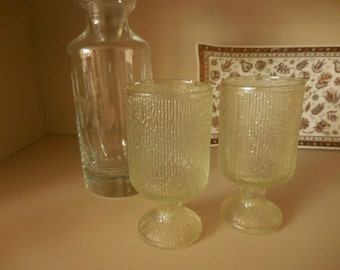Two Footed Crystal Ice Indiana Drinking Glasses