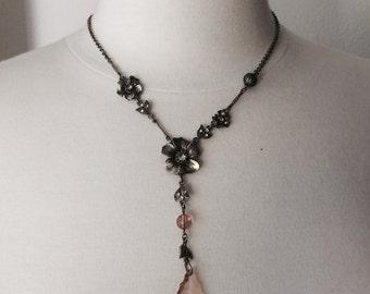 Vintage Art Nouveau Crystal Drop Necklace