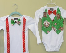 "Boys Christmas Vest and bowtie  ""GINGERBREAD HOUSE"" shirt to match the ""Gingerbread House "" Dress/ Outfits"