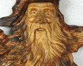 Wood Spirit wood carving of an elf wizard wall hanging present the perfect Fathers Day gift by Gary Burns the treewiz handmade woodworking
