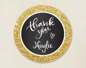 "Gold and Black ""Thank You"" Stickers - Sheet of 12 or 24"