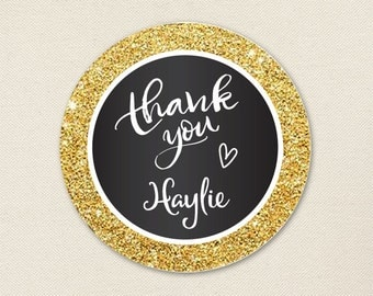 """Gold and Black """"Thank You"""" Stickers - Sheet of 12 or 24"""