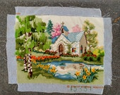 MISFIT NEEDLEWORK Orphan Vintage Needlepoint Completed Canvas Detailed Stitches Sunset Designs Church in the Glen Ready to Repurpose 1970s