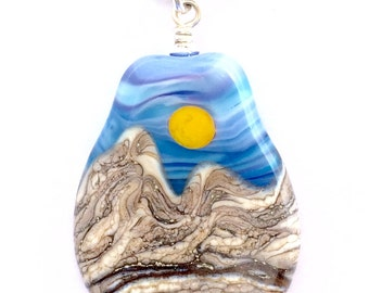 Handmade Lampwork Goldstone Desert Sun Mountain Landscape Focal Bead Necklace with .925 Sterling Silver Findings