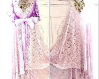 Gypsy spell lace tunic dress, Bohemian beach dresses, lilac lace beach bride, Romantic Boho Clothing, Music festival, True rebel clothing