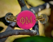 Greek Bangle Bracelet Engracved - Available in your Choice of Acrylic Color or Pattern - Sorority Gift