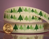 "3/8"" Christmas Tree Printed Ribbon"