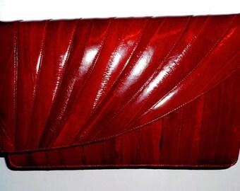 Women's Vintage Red Eel Skin Shoulder strap Purse