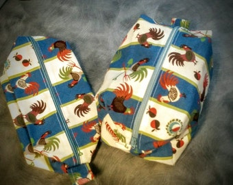 large cosmetic / make up bag with roosters