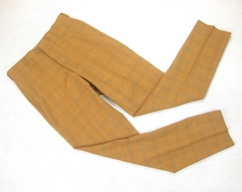 1960s NOS Mr. Levi's Slim Slacks Vintage Retro Mustard Yellow Plaid Check Sta-Prest Permanent Press Skinny Tapered Mod Pants 32 x 33 Small