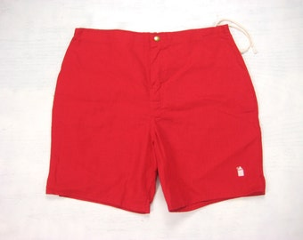 1970s Robert Bruce Whiskey Jug Trunks Vintage Retro Made in USA Red Cotton  Grubb Hippie Psychedelic Surf Swim Suit Shorts 33/34 Medium M
