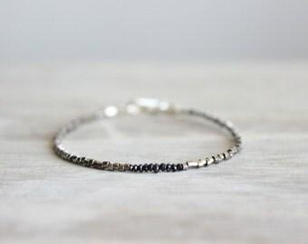 Miyuki Bracelet with Black Diamond Nuggets and Silver Beads
