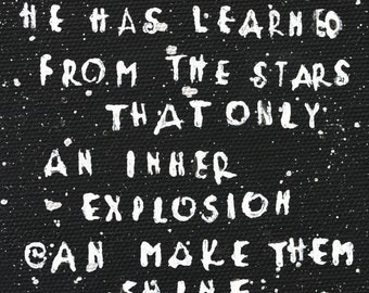 Inspirational Quote on small hard board, chalkboard paint, stamped letters, black and white, silver stars, night, desk art, passion