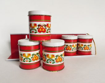 Small Shabby Red Spice Canister Set , Vintage Meister Storage Containers
