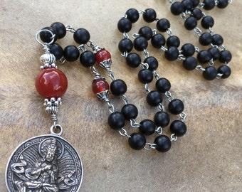 Mala Beads Buddhist Necklace Mala Necklace Buddhist Mala Buddha Pendant Zen Meditation Zen Gift Black Ebony Carnelian Buddha Amulet