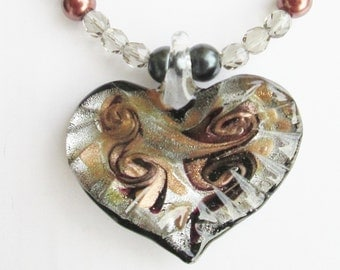 You Gotta Have Heart Glass Pendant - Classy and Chic - Copper and Gray Pearls - I left My Heart in San Francisco - Night on the Town - Gift