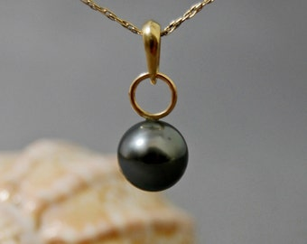 Shaye - Tahitian pearl pendant, pendant necklace, black Tahitian pearl, jewelry, gift idea for her, Tahitian pearl necklace, women, birthday