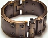 Machined Aluminum Cuff with Leather Inlay - Antiqued Copper