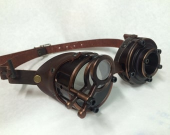 Machined Aluminum Goggles with Jewelers Lenses, Antiqued Bronze- GO058BZ