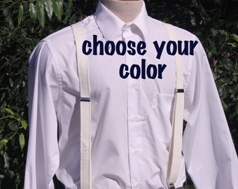 Suspenders - Mens Sizes - any fabric - Grey Cream Red Blue Linen