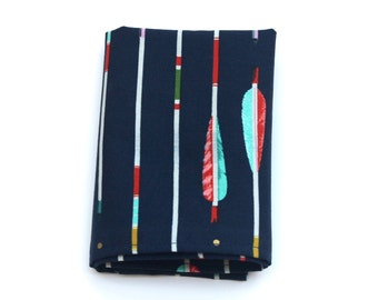 Pocket Square for Men - Navy Blue Metallic Arrows Tribal Print -  Navy and Gold Striped Kerchief Hankie - In Stock