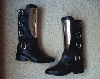 CHANEL Engraved Chrome Metal Plate Motorcycle Boots Buckles Black Cap Toe 38 7.5