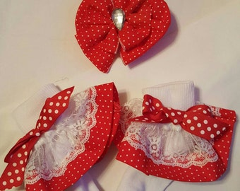 Boutique Custom Made OOAK Fancy Feet Red Dotted Ruffle Socks and hairbow set