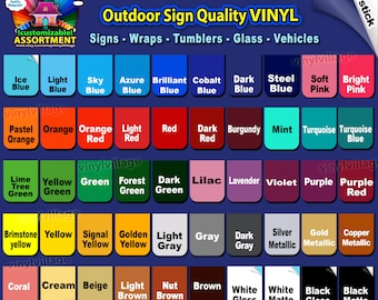 100 sheets 12x12 Adhesive Backed Vinyl YOU PICK COLORS Outdoor sign quality Craft cut cutter, wraps, tumblers, glass, vehicles vinyl_village