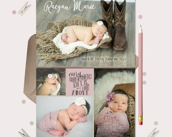 Every Good and Perfect Gift Baby Announcement -- Boy or Girl - double sided - 4 photos